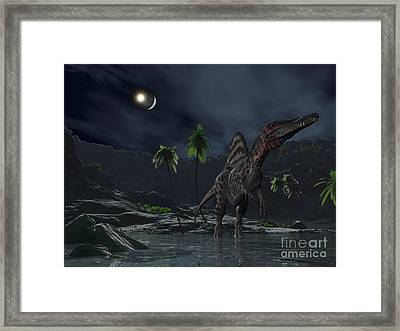 An Asteroid Impact On The Moon While Framed Print by Walter Myers