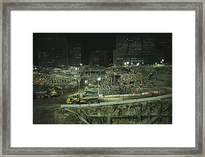 An Elevated View Of Ground Zeros Framed Print by Ira Block