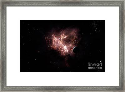 An Emission Nebula Is Viewed From Neaby Framed Print by Brian Christensen
