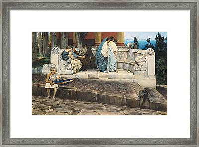 An Exedra Framed Print by Sir Lawrence Alma-Tadema