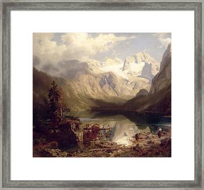 An Extensive Alpine Lake Landscape Framed Print by Augustus Wilhelm Leu