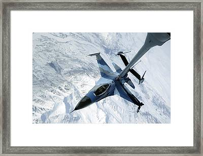 An F-16 Aggressor Sits In Contact Framed Print by Stocktrek Images
