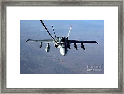 An Fa-18c Hornet Receives Fuel Framed Print by Stocktrek Images