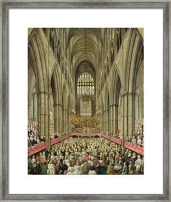 An Interior View Of Westminster Abbey On The Commemoration Of Handel's Centenary Framed Print by Edward Edwards