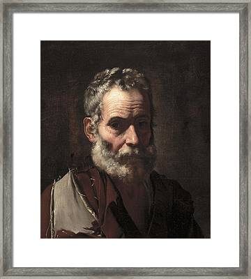 An Old Man Framed Print by Jusepe de Ribera