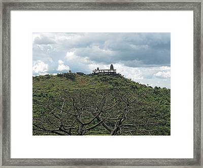 An Old Temple Building On Top Of A Hill With A Lot Of Clouds In The Sky Framed Print by Ashish Agarwal