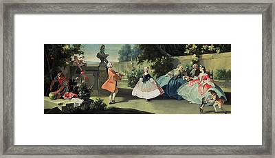 An Ornamental Garden With A Young Girl Dancing To A Fiddle Framed Print by Filippo Falciatore