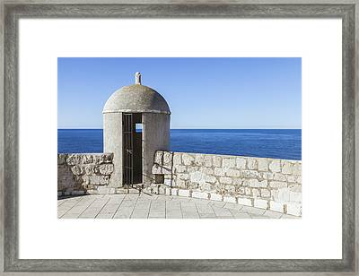 An Outpost Overlooking The Adriatic Sea Framed Print by Greg Stechishin
