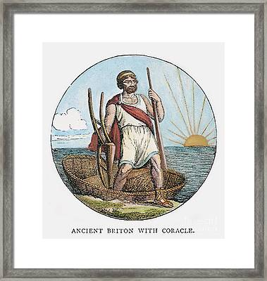 Ancient Briton And Coracle Framed Print by Granger