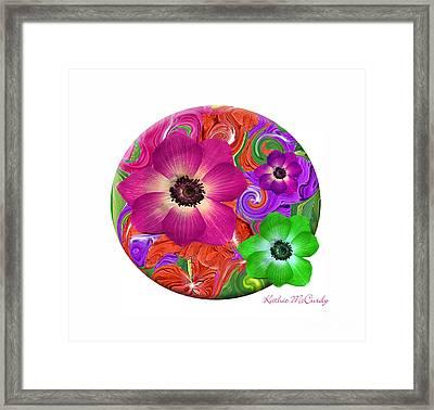 Anemone Craziness Framed Print by Kathie McCurdy