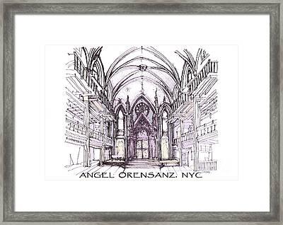 Angel Orensanz Ink  Framed Print by Building  Art