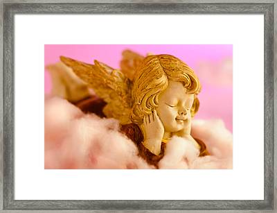 Angel Resting On Clouds And Enjoying The Sun Framed Print by Ulrich Schade