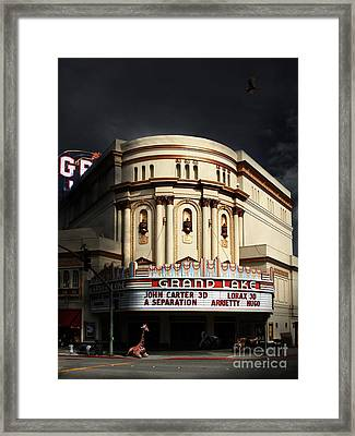 Animal Night At The Grand Lake Theatre . 7d13481 Framed Print by Wingsdomain Art and Photography