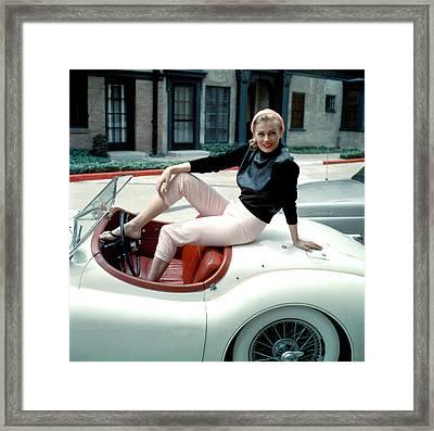 Anita Ekberg, On Her Jaguar, Late 1950s Framed Print by Everett