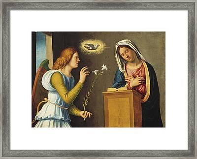 Annunciation To The Virgin Framed Print by Giovanni Battista Cima da Conegliano