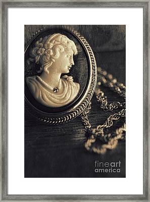 Antique Cameo Medallion On Wood Framed Print by Sandra Cunningham
