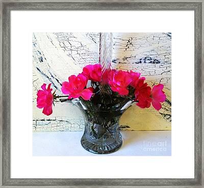 Antique Crystal Basket Of Roses Framed Print by Marsha Heiken
