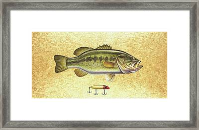 Antique Lure And Bass Framed Print by JQ Licensing