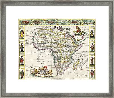 Antique Map Of Africa Framed Print by Dutch School