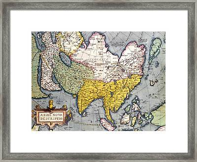 Antique Map Of Asia Framed Print by Claes Jansz