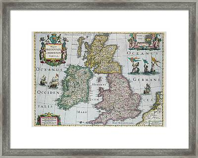 Antique Map Of Britain Framed Print by English School