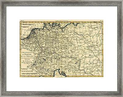 Antique Map Of Germany Bohemia And Hungary With Part Of Poland Framed Print by Guillaume Raynal