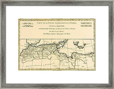 Antique Map Of North Africa Framed Print by Guillaume Raynal