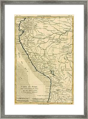 Antique Map Of Peru Framed Print by Guillaume Raynal