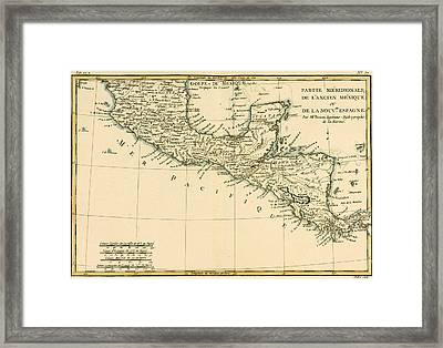 Antique Map Of Southern Mexico Framed Print by Guillaume Raynal