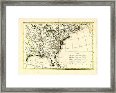 Antique Se United States Map Framed Print by Unknown