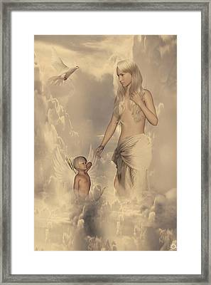 Aphrodite And Eros Framed Print by Lourry Legarde