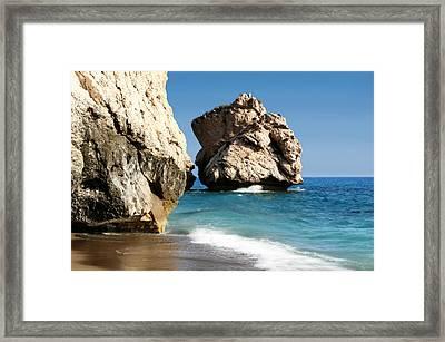 Aphrodite Rock Cyprus Framed Print by Julie L Hoddinott