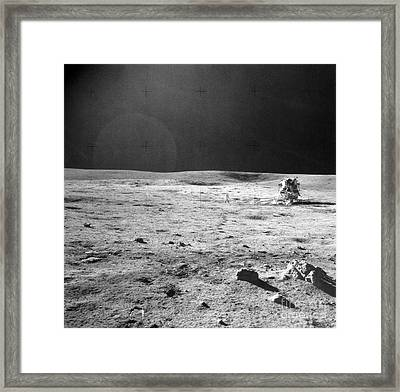 Apollo 14 & Shepard On Moon Near Fra Framed Print by NASA / Science Source