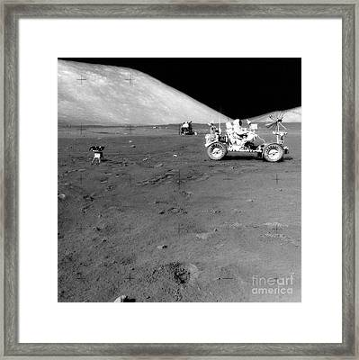 Apollo 17 Image Of Land Rover On Moon Framed Print by Stocktrek Images