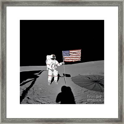 Apollo Astronaut Stands Framed Print by Stocktrek Images
