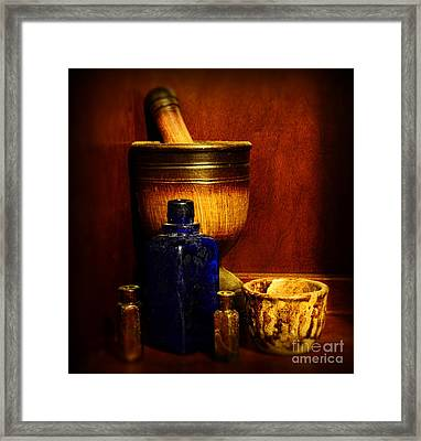 Apothecary - Wood Mortar And Pestle Framed Print by Paul Ward