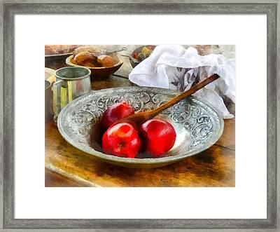 Apples In A Silver Bowl Framed Print by Susan Savad