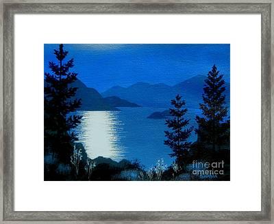 April  Full  Moon - - Fine Art Impressionist Serenity Landscape Framed Print by Shasta Eone
