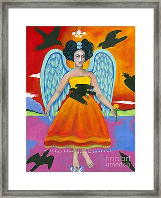 Archangel Zadklie Comes To Calm The Brewing Storm Framed Print by Christina Miller