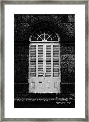 Arched White Shuttered Window French Quarter New Orleans Black And White Watercolor Digital Art  Framed Print by Shawn O'Brien