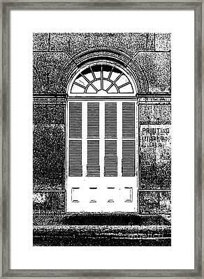 Arched White Shuttered Window French Quarter New Orleans Photocopy Digital Art  Framed Print by Shawn O'Brien