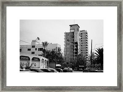 Area Surrounding Varosha Forbidden Zone With Salaminia Tower Hotel Abandoned In 1974 Framed Print by Joe Fox