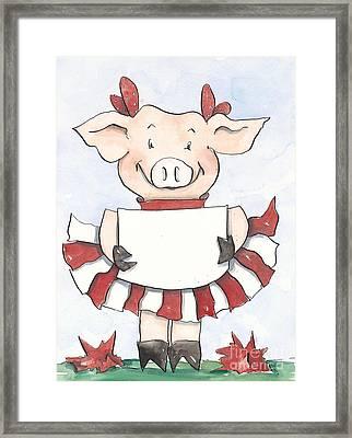 Arkansas Razorback Cheer Piggy Framed Print by Annie Laurie