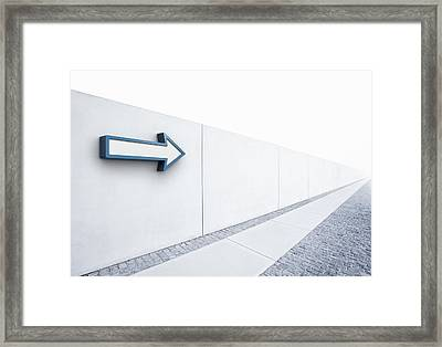 Arrow Pointing Into Distance Framed Print by Jorg Greuel