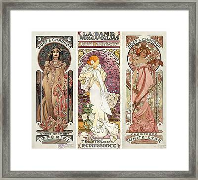 Art Noveau By Alfonse Mucha Collage Framed Print by Don Struke