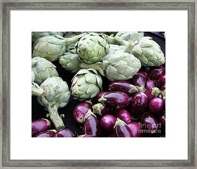 Artichokes And Eggplants  Framed Print by Enzie Shahmiri