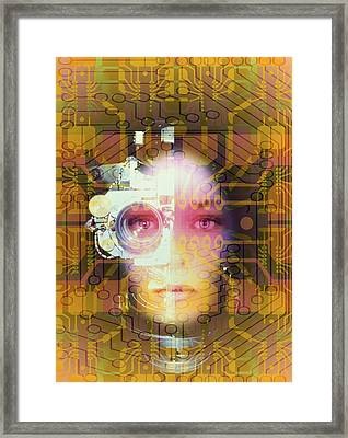 Artificial Intelligence: Face And Circuit Board Framed Print by Mehau Kulyk
