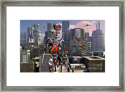Artists Concept Of A City Of The Future Framed Print by Mark Stevenson