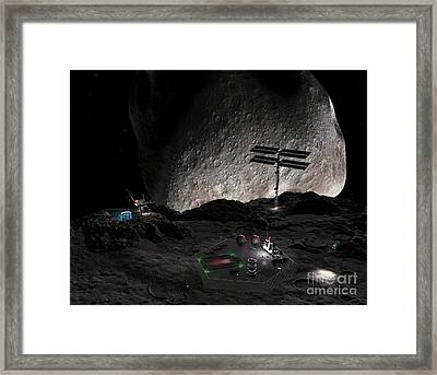 Artists Concept Of A Mining Settlement Framed Print by Walter Myers