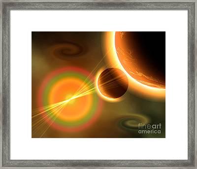 Artists Concept Of A Solar Storm Framed Print by Mark Stevenson